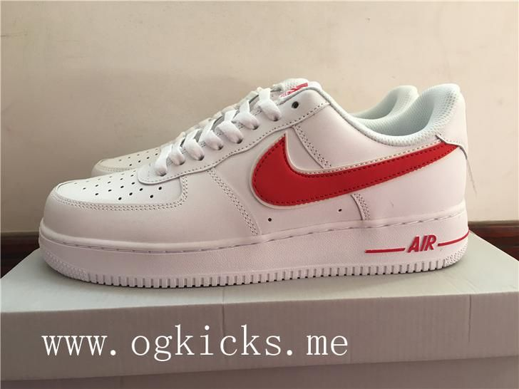 Nike Air Force 1 White Red Swoosh With Images