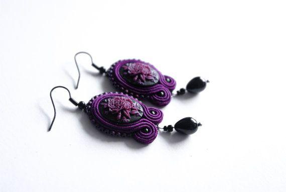 Victorian Gothic Bordeaux Soutache Earrings by MystereSoutache