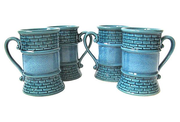 Teal Mugs, Set of 4 on OneKingsLane.com