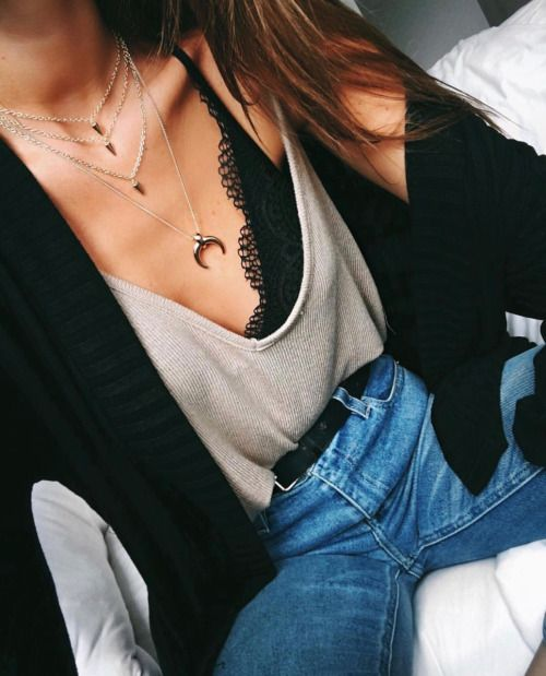 Edgy Style: Pop of lace cami, tee shirt, spiked layered necklaces, horn necklace