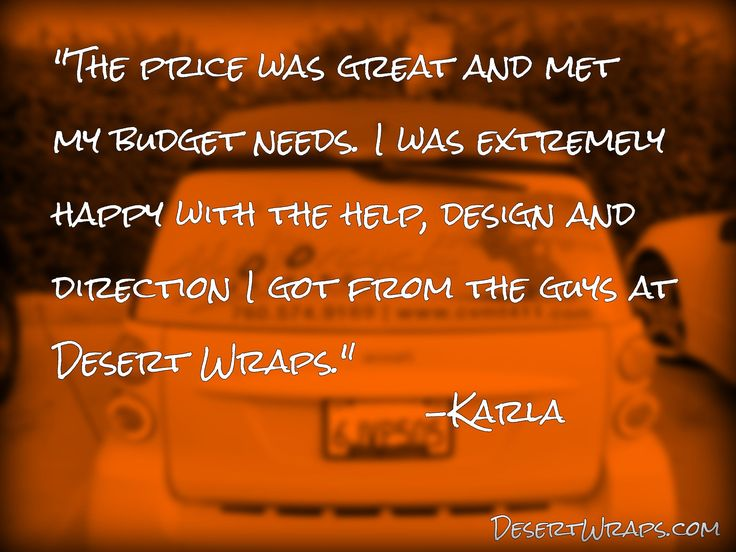 We're so glad to be of assistance! Thank you Karla!! http://www.DesertWraps.com #CustomerLove #VehicleWrap #PalmSprings #PalmDesert