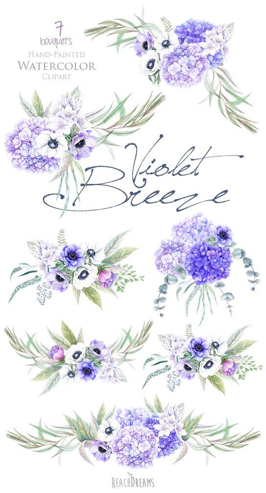 Wedding Watercolor Flowers Anemones, Hydrangea Bouquets, Hand Painted Clipart…