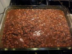 Tamishea's BBQ Beans. 2 cans of Bush Baked beans (1 can Maple Brown Sugar & 1 can Homestyle) , 1.5 to 2 cups brown sugar, 1.5 to 2 Tbsp Yellow Mustard, 1.5 to 2 Tbsp Onion Power & Garlic Salt & 1 lb Ground Beef (80/20). Brown beef first & then drain off fat, then mix all ingredients in a casserole dish & cover and bake @ 350 for 30 mins. Delish!