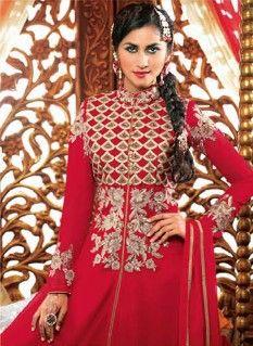 Beguiling Red Floral Faux Georgette Anarkali Salwar Kameez with Matching Dupatta