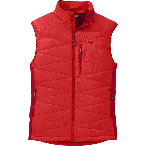 Outdoor Research Cathode Vest - S - Hot Sauce/Agate - Outerwear ($120) ❤ liked on Polyvore featuring men's fashion, men's clothing, men's outerwear, men's vests, red, mens pocket vest, mens vest outerwear, mens red vest, mens vest and mens lightweight vest