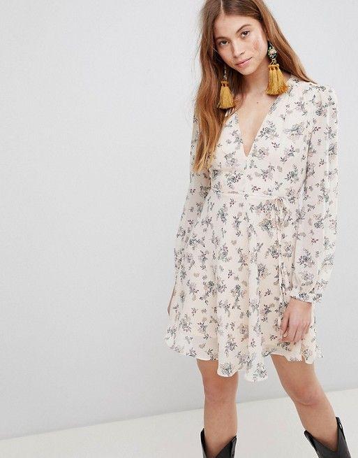 Glamour Kleding.Glamorous Mini Wrap Dress With Tie Waist In Floral Asos