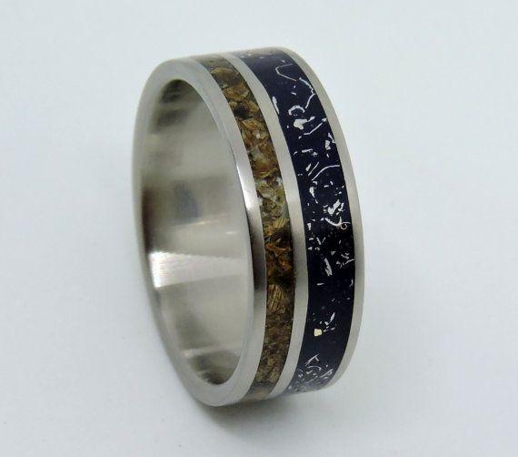 Trending Titanium Meteorite and Dinosaur Bone Ring Wedding Ring Blue Stardust Wedding Band Meteorite