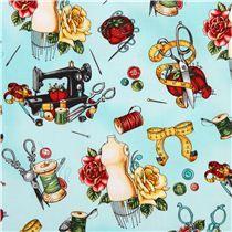 tessuto turchese manichini Vintage Couturier Robert Kaufman