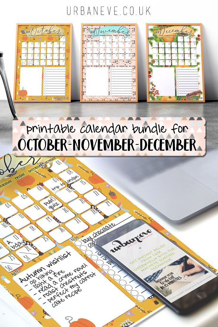 Pumpkin vibes for October, Scandi-inspired geometry for November, and pine & spices for December. This free printable calendar bundle will get you through the last quarter of 2017 with plenty of space for events,to-dos and notes.
