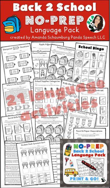 No time to prep? No problem! Language intervention done!!! Great for homework too! FREE bonus full color BINGO game!