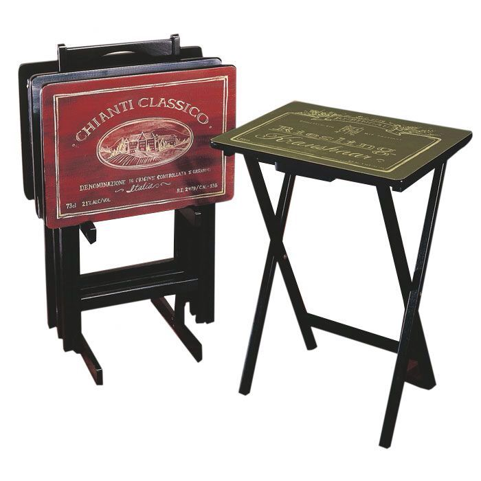 Wines of the World Wine Label TV Tray Table with Stand (Set of 4)