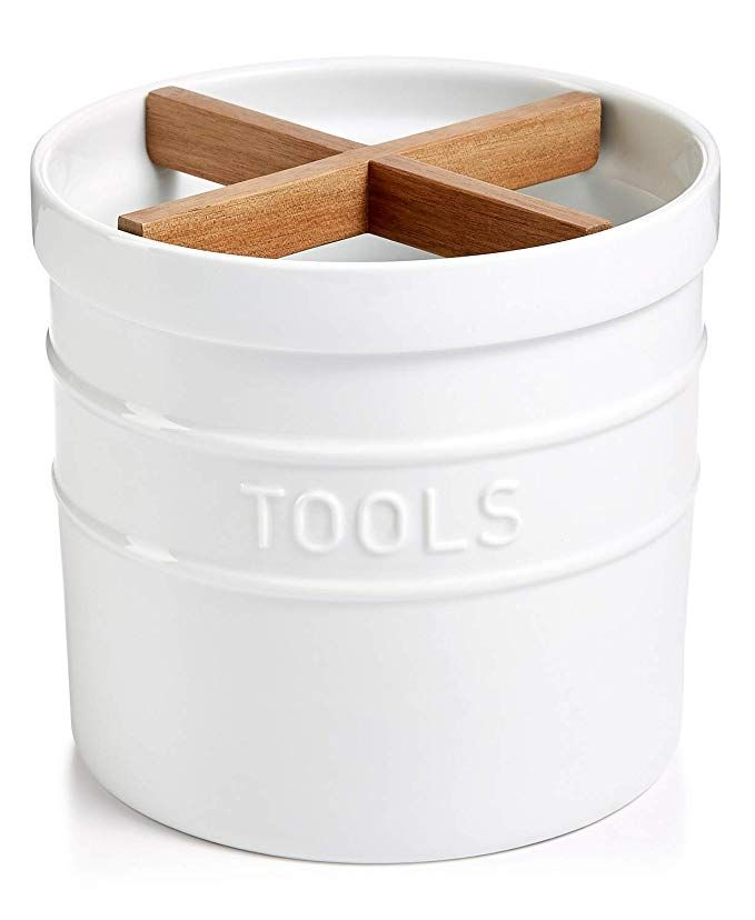 Kitchen Tool Crock Corner Hutch Ceramic Utensil Holder And Organizer With Wood Divider White