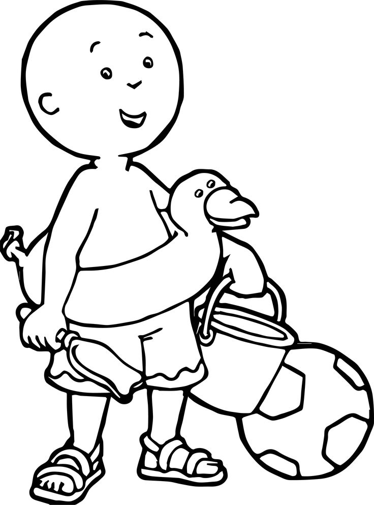 awesome Caillou Coloring Beach Page Caillou, Boy