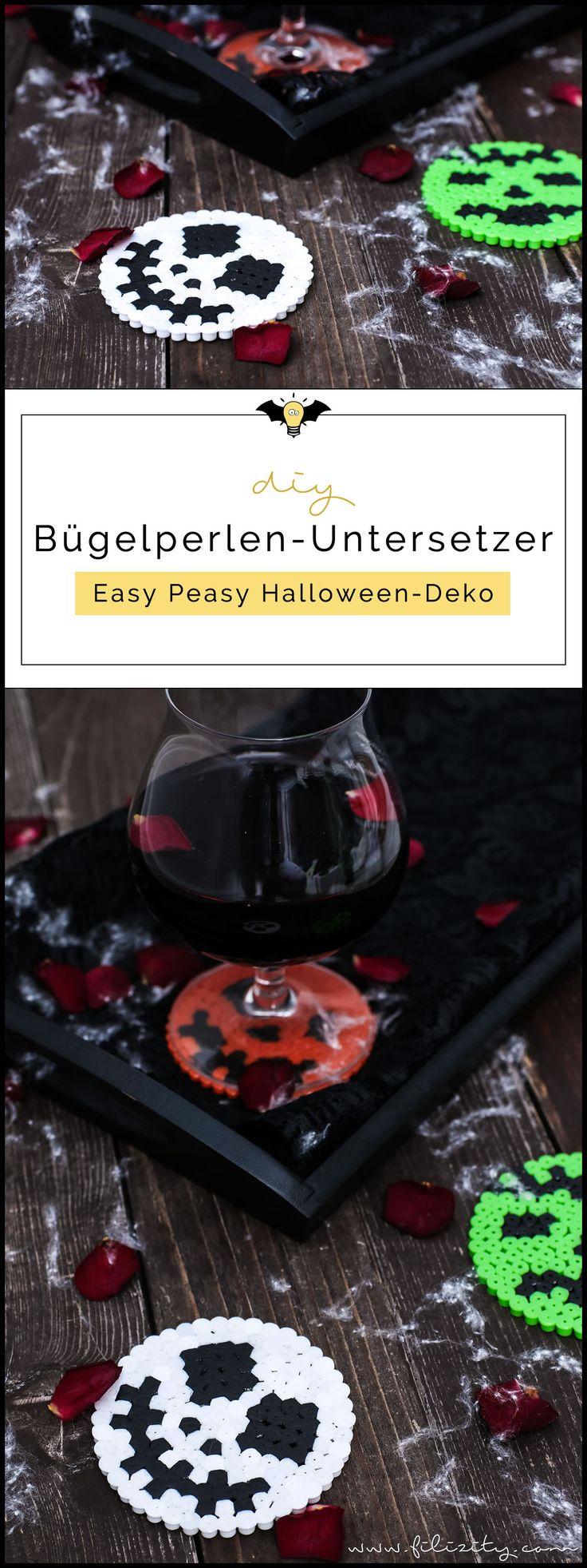 Halloween Deko selber machen: Bügelperlen-Glasuntersetzer
