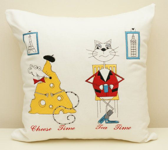 Embroidered cushion. Cat and mouse. Tea time. English breakfast. France - cheese time.