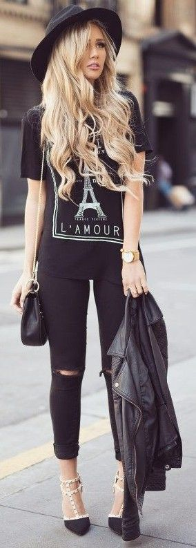 #summer #elegant #outfits | Graphic Tee + Black Jeans