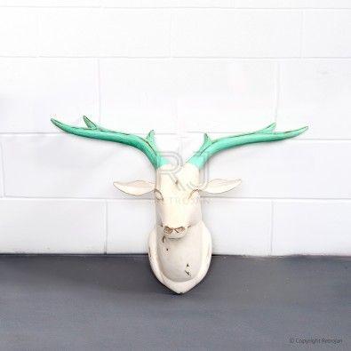 Wooden Deer Head - Lime Green