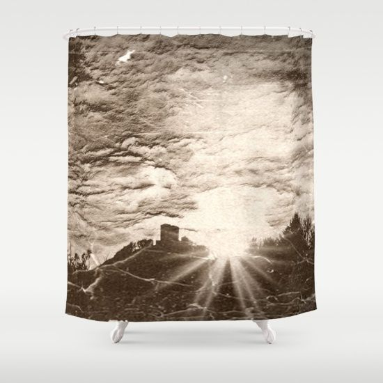 Castle at sundown (Antiqued) Shower Curtain I'm starting a series of antique looking pics. This is the first one, Trifels castle on a sundown in winter.   Landscape, sepia, castle, sky, clouds, sunbeams, Germany, grass, mountain, tree, wrinkle, black, sunrays, silhouettes  That's a similar pic, but more colorful:  https://society6.com/product/golden-ages_print#1=45