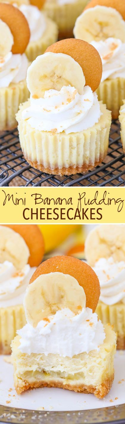 Mini Banana Pudding Cheesecakes - vanilla wafer crust, banana filling and whipped cream!
