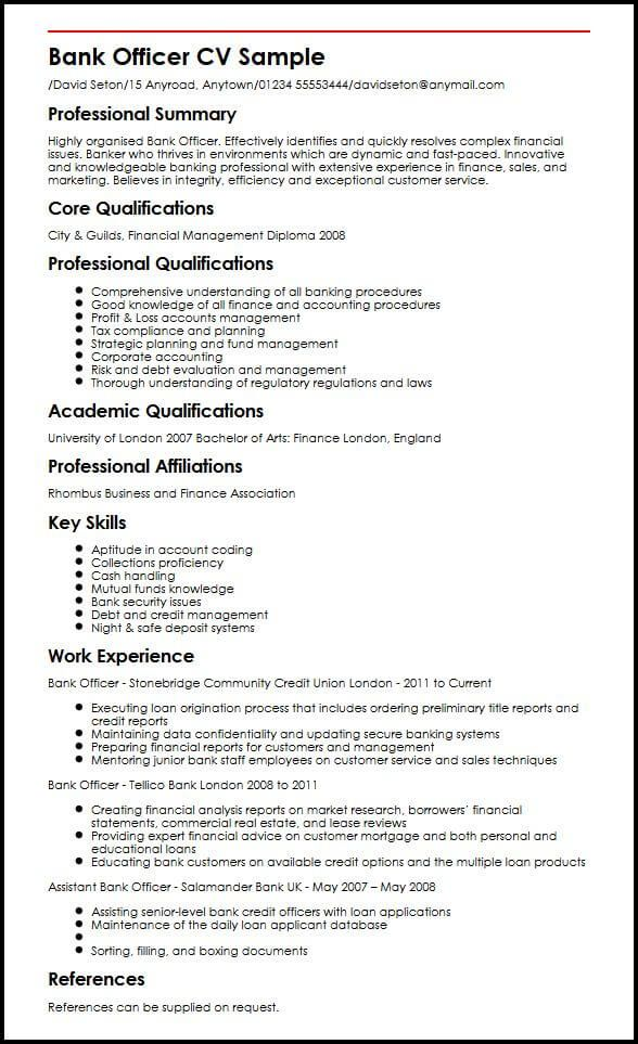 Bank Officer Cv Sample Myperfectcv Good Resume