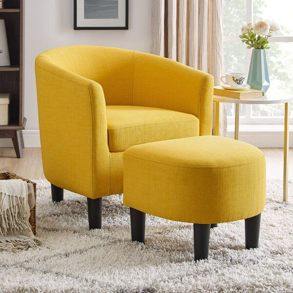 50+ Yellow accent chair with ottoman info