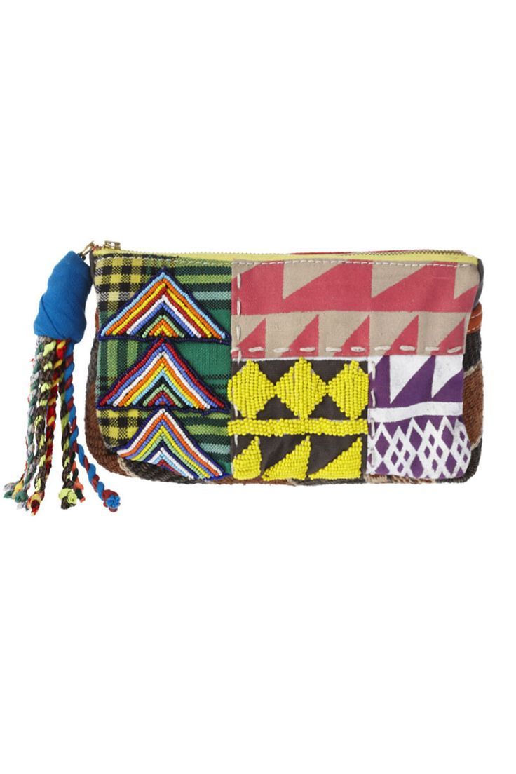 ON YOUR MARKS - limited edition patchwork clutch incorporating different techniques including print, fabric & beadwork. handmade in kenya, Afria by tribal women as part of The United Nations ethical fashion program.