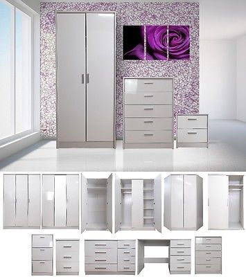 high gloss bedroom furniture set wardrobe chest bedside dressing table white view
