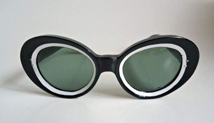 Vintage Sunglasses Groovy 1960's Black and White Eyewear Retro by treasurecoveally on Etsy