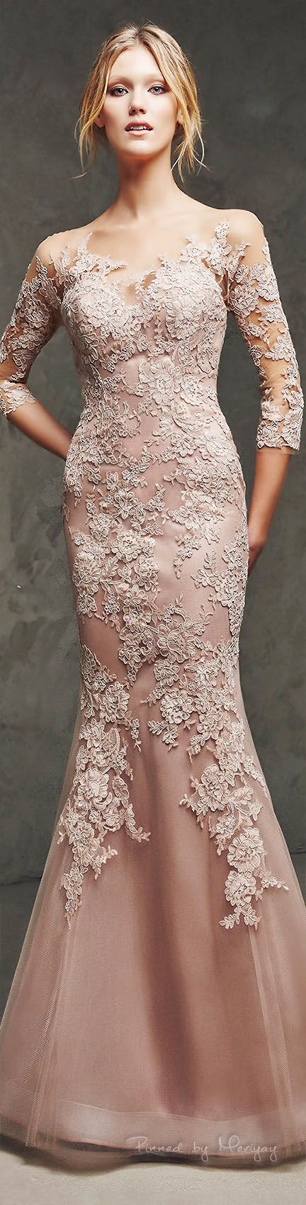 This incredible dress is so similar to what she's searching for!!! Though white would be preferable. Pronovias 2016