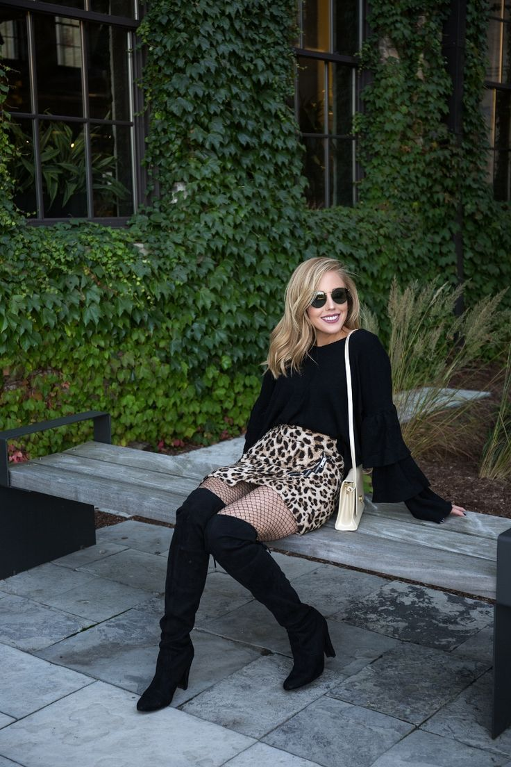Black Ruffle Sweater, Leopard Skirt, Black Over-The-Knee boots, Fishnets #bloggerstyle #style #lifestyle #fashion #leopard #bloggerlife #personallypaige #overthekneeboots #blacksweater #style #shopping #shopmystyle #canadian #beauty #youtube #rayban #raybanround