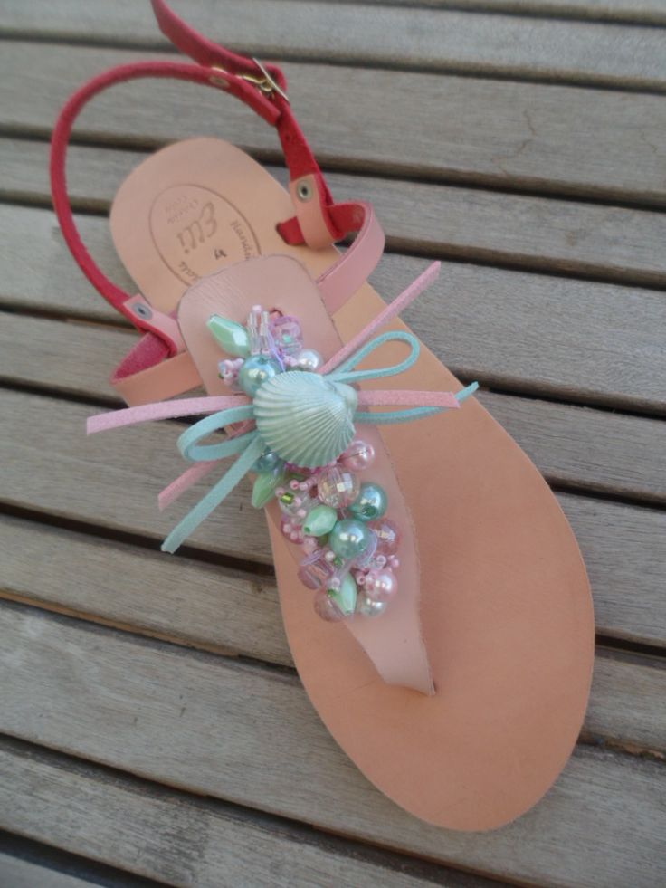 pink leather sandal with decoration by ellishoes.blogspot.com
