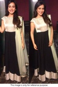 Bollywood Style Neha Sharma Georgette Suit In Silver and Black Colour NC1192