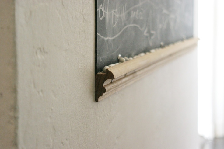 a piece of molding for chalk ledge    The Brooding Hen: A Chalkboard in the Hall