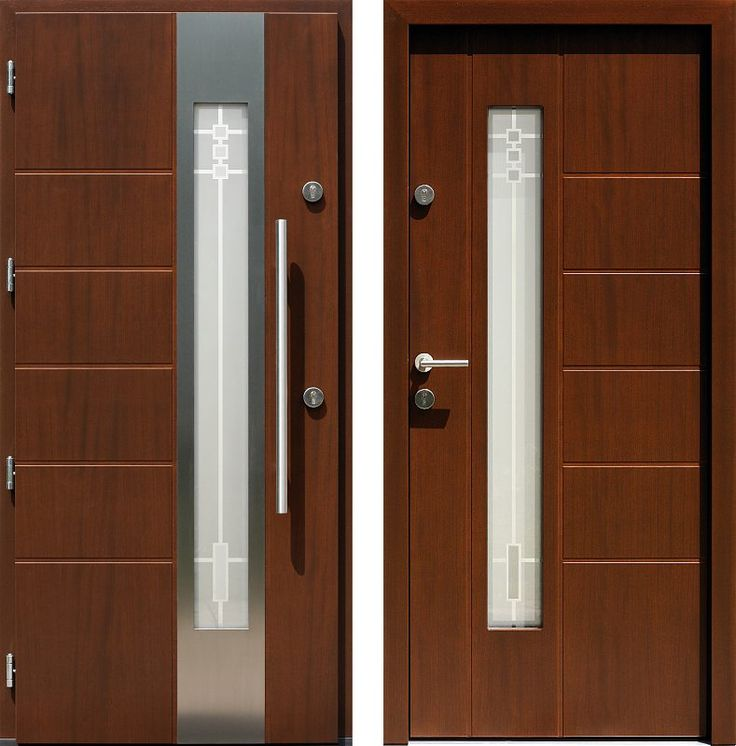 Drzwi wejściowe z aplikacjamii ze stali nierdzewnej inox wzór 471,1-471,11+ds1 orzech