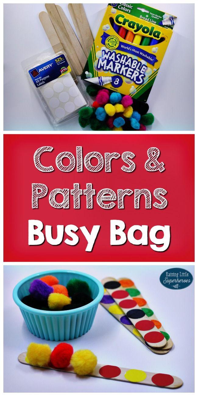 Great preschool pattern activity! Build pom pom patterns on craft sticks.