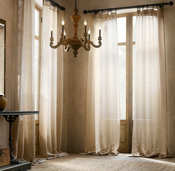 ~ thinking about making curtains from canvas drop cloths for the French doors in this style ... still thinking about it...
