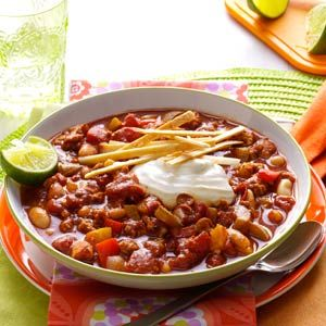 Lime Chicken Chili Recipe from Taste of Home -- shared by Diane Randazzo of Sinking Spring, Pennsylvania