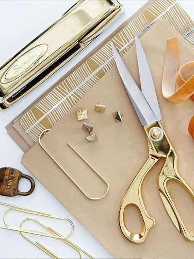 #Gold desk supplies - the perfect touch of glam. #stationery