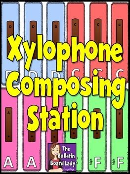 Xylophone Composing Workstation / Center for Music Class   This xylophone composing station is easy to prepare and easy for students to use to find success. Students lay the cards that contain a xylophone bar on them in 4 groups of 4. Then they play their composition alone or in a group.