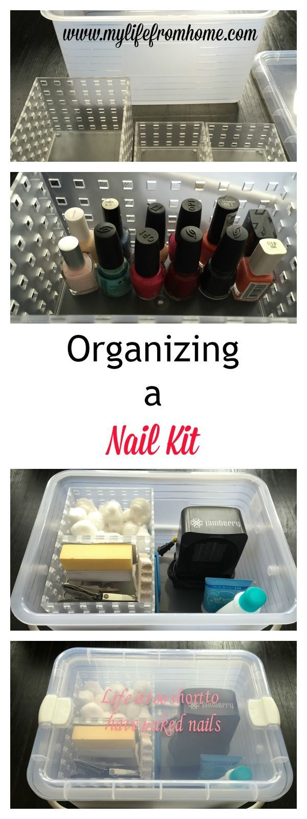 Tired of a jumble of nail polish under your cabinet? Here is step by step instructions to put together the ultimate nail care kit! A large caddy with a handle to carry anywhere!   My Life From Home   http://www.mylifefromhome.com   bathroom storage   small bath storage   nail polish kit   manicure kit   DIY nail kit   organizing nail polish