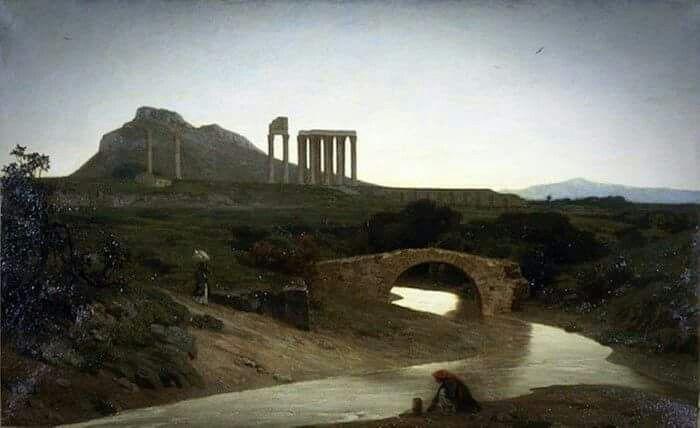 Αθήνα 1852 -1854 περ. Το μονότοξο γεφύρι του Ιλισού κοντά στην Αγία Φωτεινή και το Ολυμπιείον. Μια γυναίκα σε πρώτο πλάνο παίρνει νερό από το ποτάμι. Στην αντίπερα όχθη μια γυναίκα άλλης κοινωνικής τάξης με δυτική ενδυμασία και παρασόλι κατηφορίζει προς τον Ιλισσό.  Εργο του Γάλλου ζωγράφου Alfred de Curzon που εκτέθηκε στο Παρίσι στο Salon 1861 ...