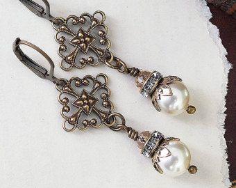Ivory Pearl Earrings, Bronze Filigree Bridal Earrings with Swarovski Crystal Pearls, Handmade Vintage Style Wedding Jewellery, British, UK