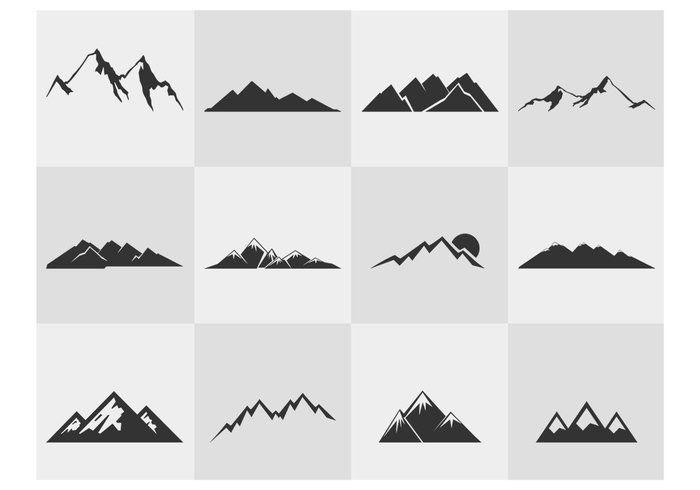 Mountain Silhouettes Vector Set                                                                                                                                                                                 Más