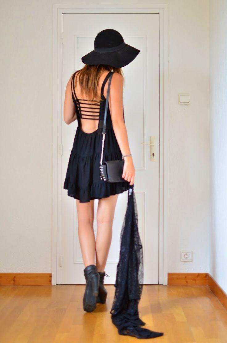 h&m lace kimono, capeline, brandy melville dress & bra. I'm a witch. Jeffrey Campbell Everest heels