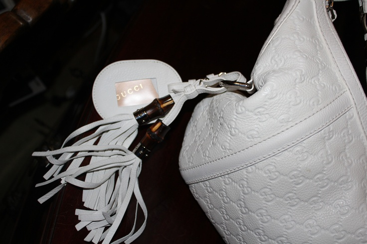 "Gucci ""G"" Logo White leather Large Hobo Shoulder Bag"