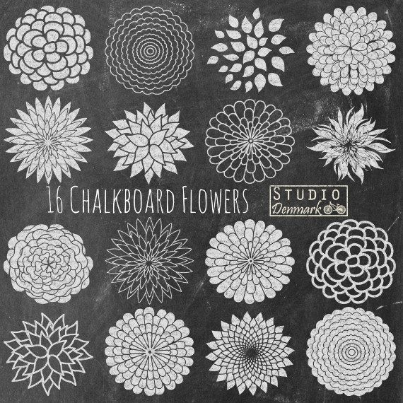 Kreide Blumen Clipart Tafel malzkaffee Blumen von StudioDenmark
