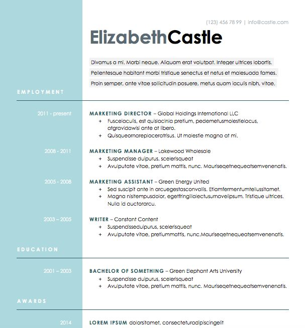 7 best resume templates images on Pinterest Free resume - free resume templates for microsoft word