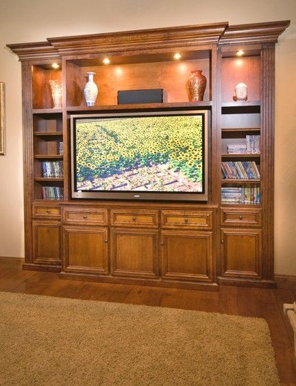 17 best images about tv entertainment center on pinterest for Built in entertainment center using kitchen cabinets