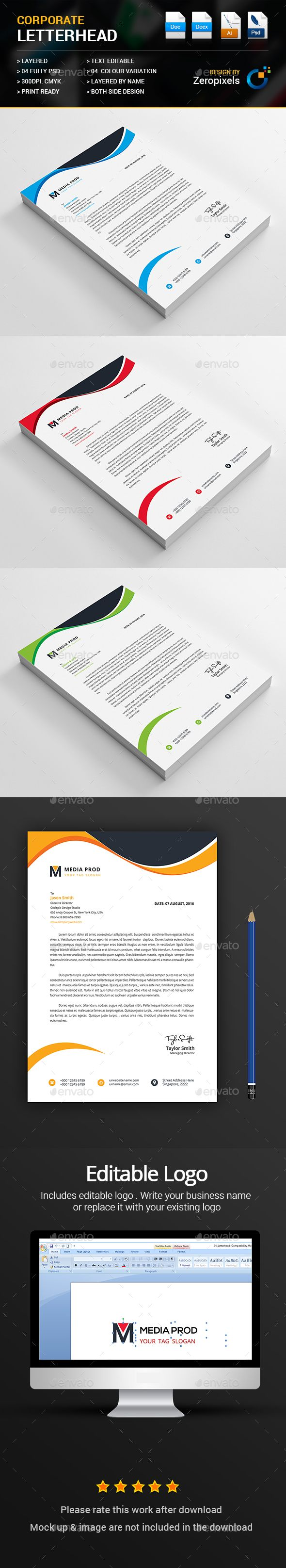 Letterhead — PSD Template #landscape #company • Download ➝ https://graphicriver.net/item/letterhead/18190410?ref=pxcr