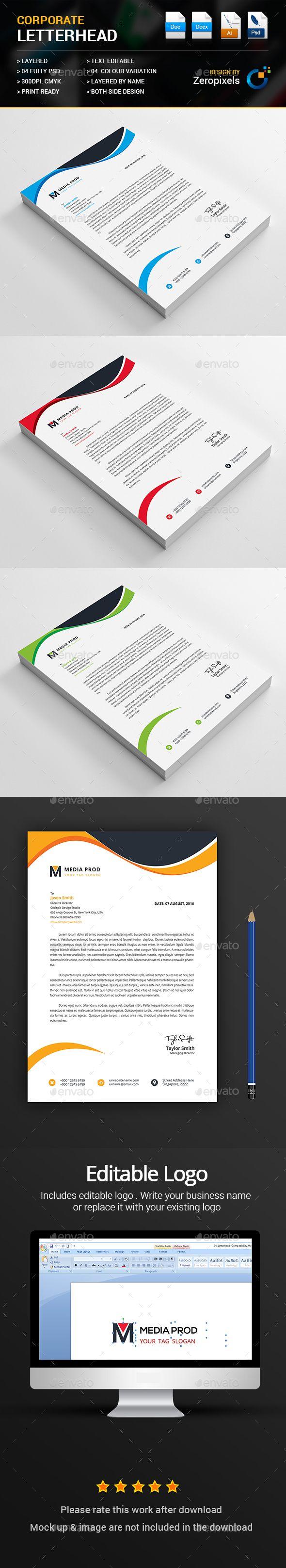 Letterhead — PSD Template #landscape #company • Download ➝ https://graphicriver.net/item/letterhead/18190410?ref=pxcr